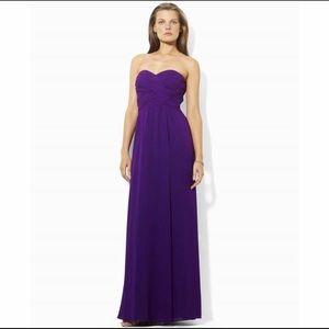 Lauren Ralph Lauren Grey Strapless Evening Gown And Scarf